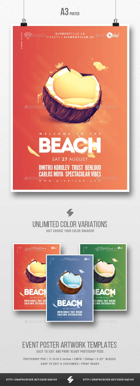 Beach Party - Minimal Flyer / Poster Template A3 - Clubs & Parties Events