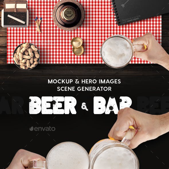 Beer & Bar Mockup & Hero Images Scene Generator