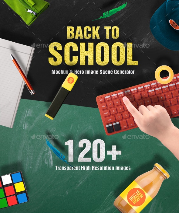Back To School Mockups and Hero Image Scene Generator - Hero Images Graphics