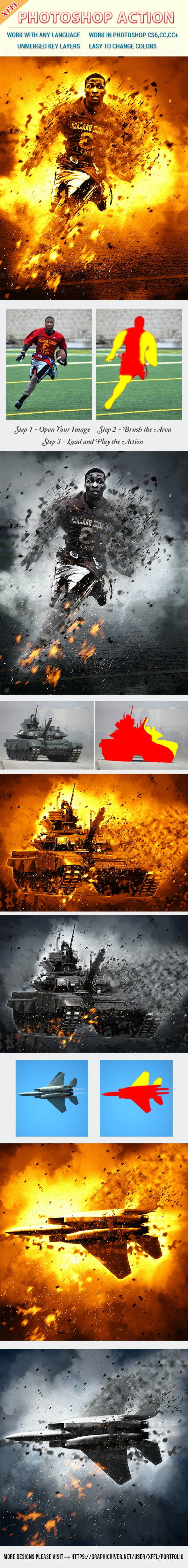 War Blast Scene Photoshop Action - Photo Effects Actions