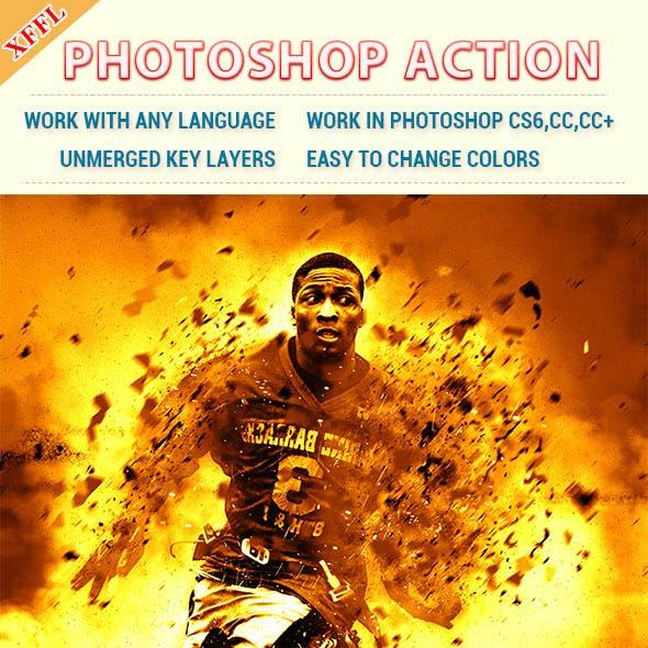 War Blast Scene Photoshop Action