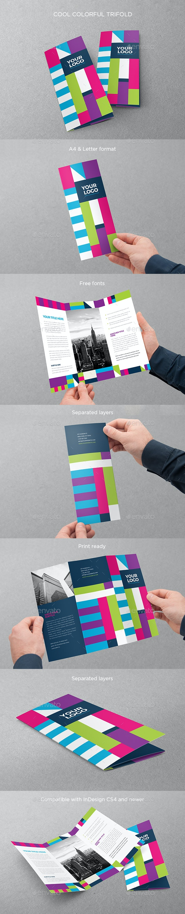 Cool Colorful Trifold - Brochures Print Templates