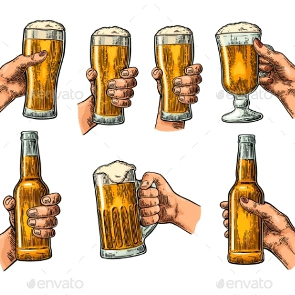 Man and Woman Hands Holding and Clinking with Beer
