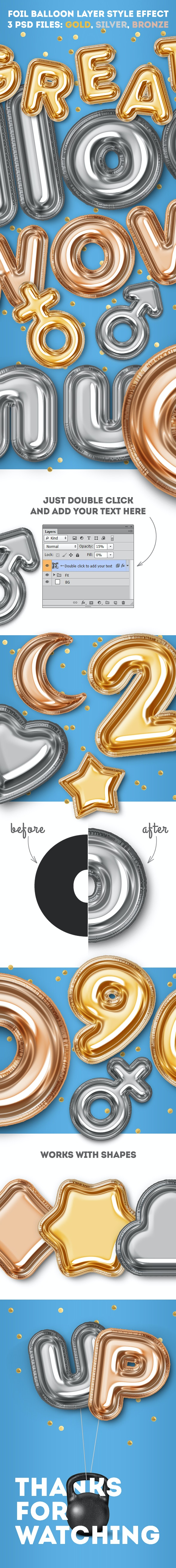Foil Balloon Layer Style Effect - Text Effects Actions