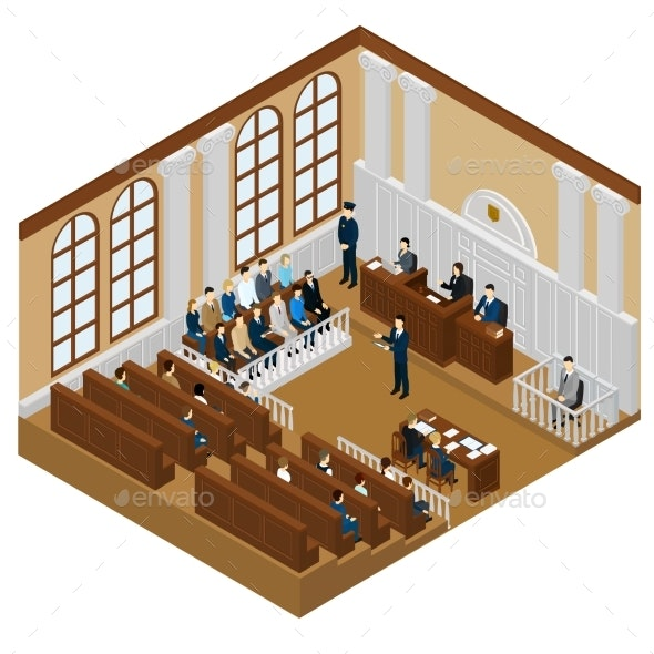 Isometric Judicial System Concept - People Characters