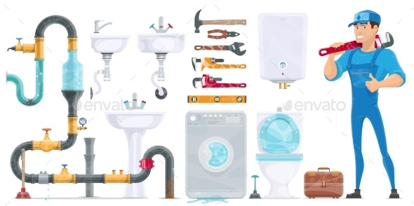 Plumbing Elements Collection - Man-made Objects Objects