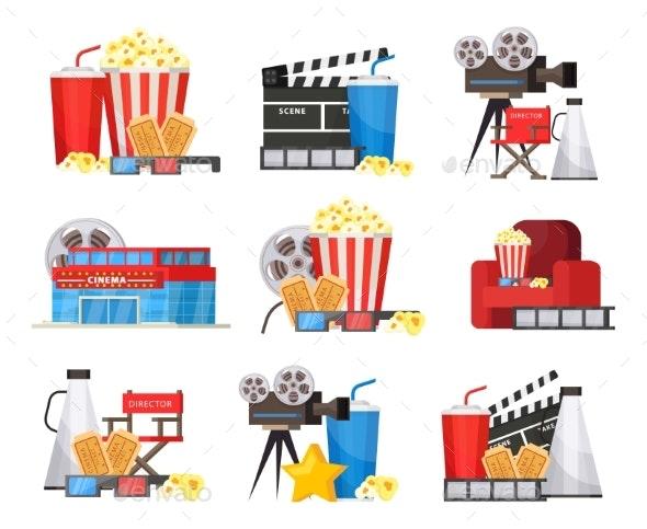 Colorful Cinema Elements Set - Miscellaneous Vectors