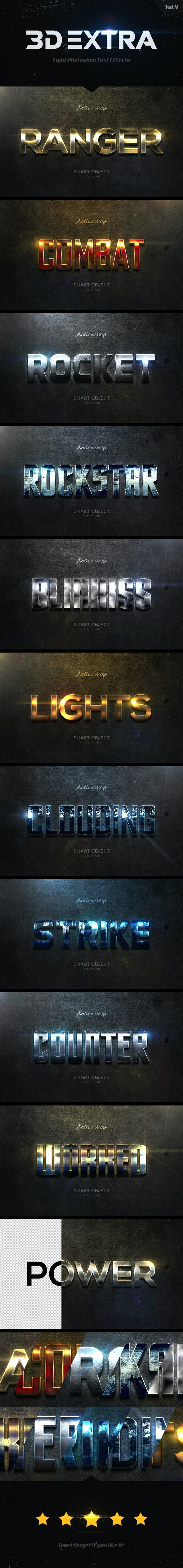 New 3D Extra Light Text Effects Vol.4 - Text Effects Styles