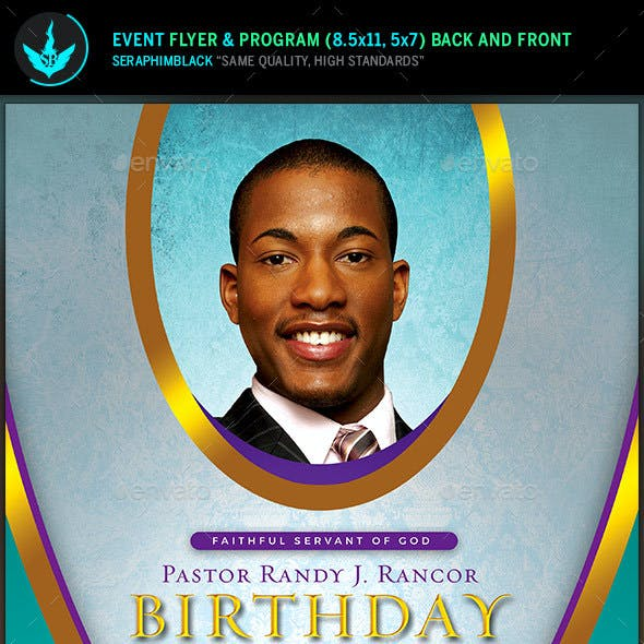 Royal Teal Pastor Birthday Flyer and Program Template