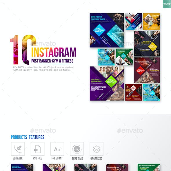 10 Instagram Post Banner - Gym & Fitness