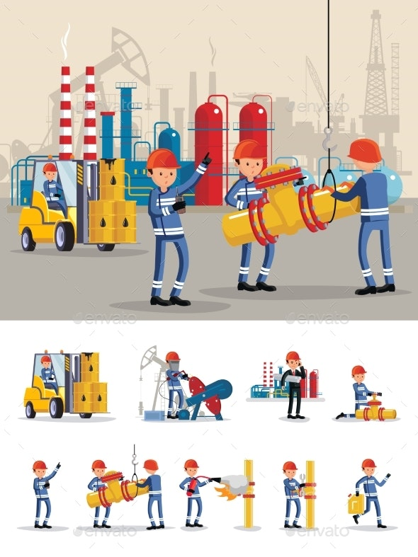 Oil Industry Characters Concept - Industries Business