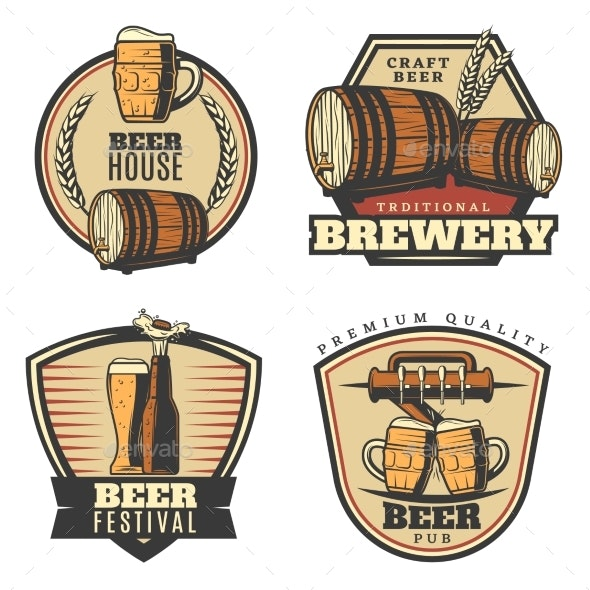 Colorful Vintage Brewing Emblems Set - Food Objects