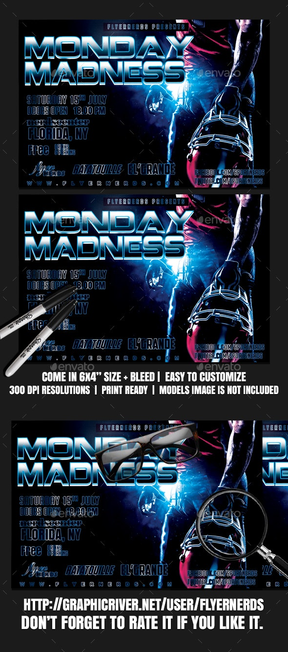 Monday Madness Football Sports Flyer - Sports Events
