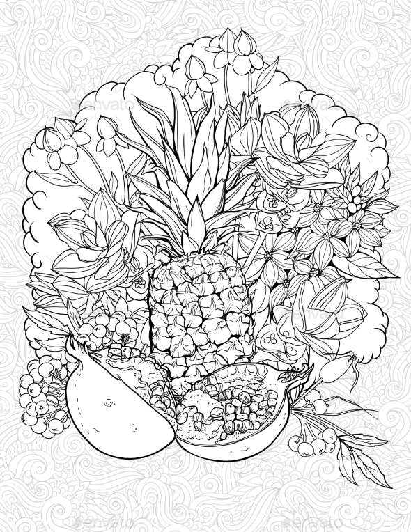 Pineapple and Pommegranate - Flowers & Plants Nature