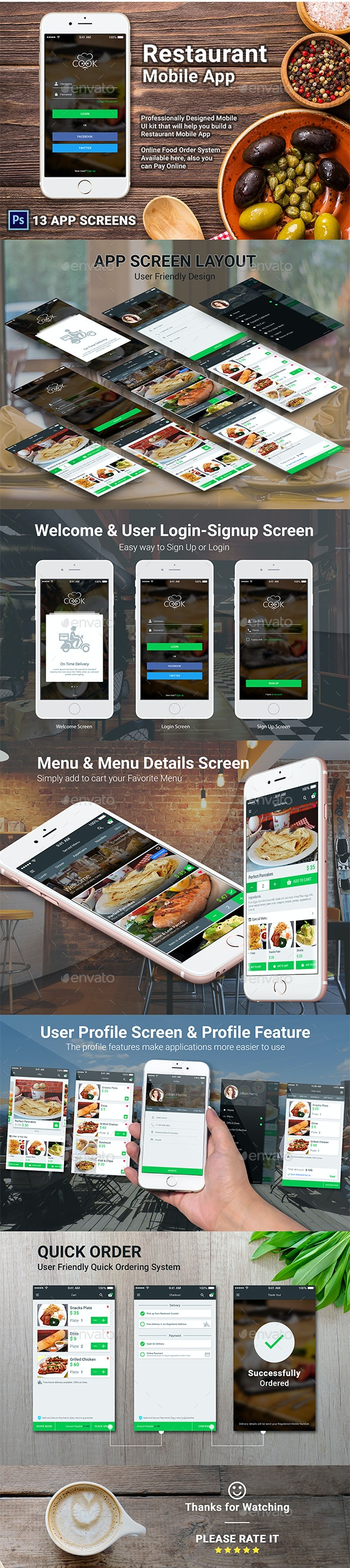 Restaurant Mobile APP - COOK - User Interfaces Web Elements