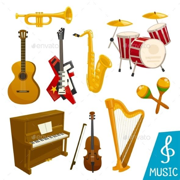 Musical Instruments Vector Isolated Icons