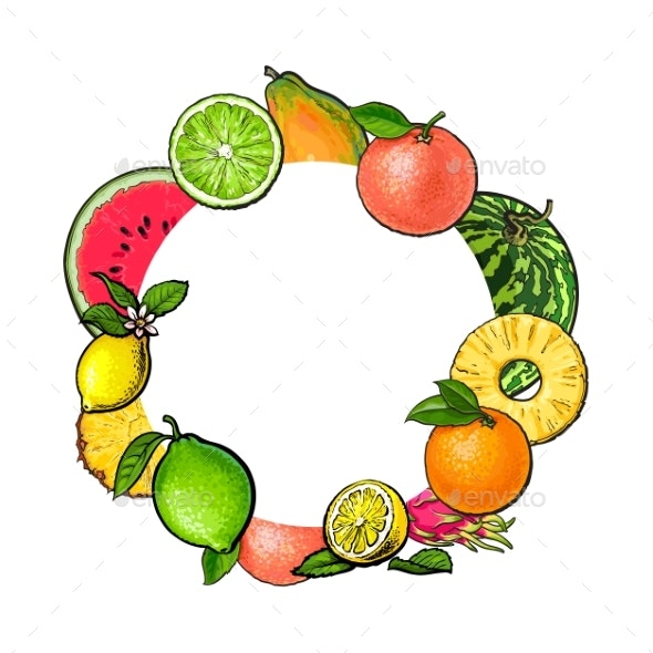 Round Frame of Tropical Fruits with Empty Place - Backgrounds Decorative