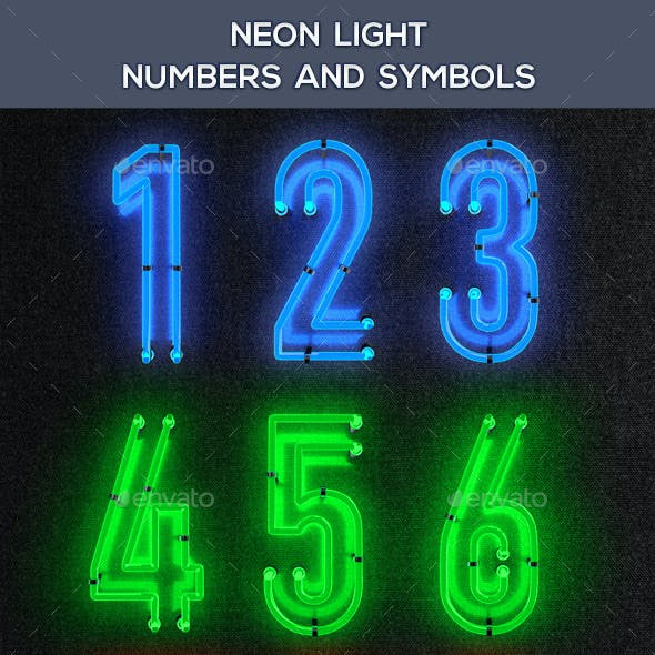 Neon Light Numbers And Symbols