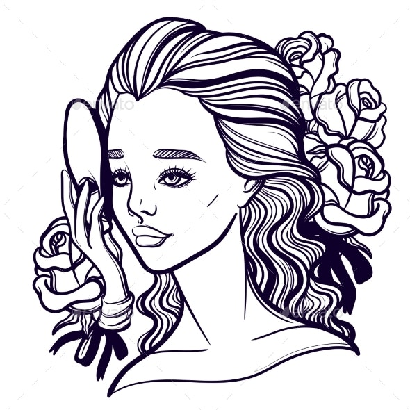 Vector Illustration of a Girl and a Mask - People Characters