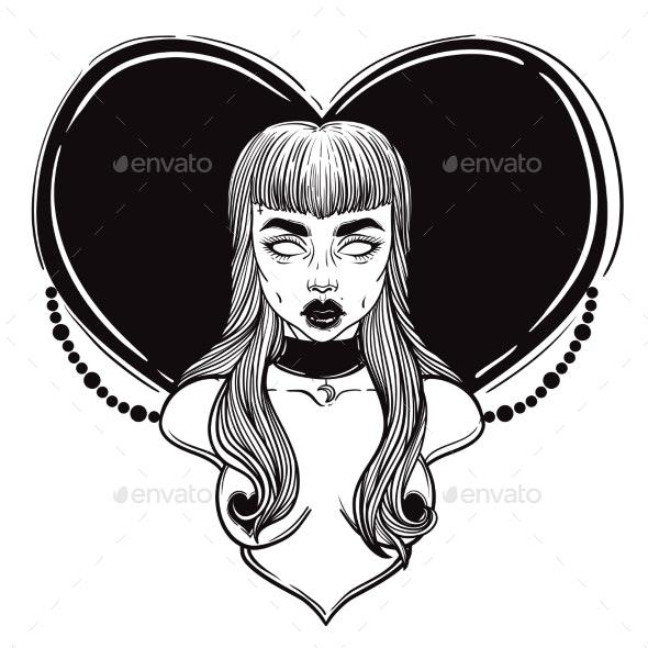 Zombie or Vampire Girl Line Art. - People Characters