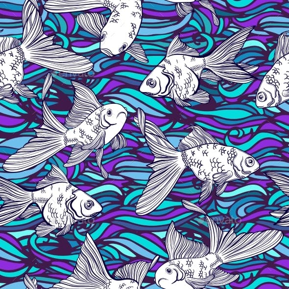 Vector Seamless Pattern with Goldfish and Perch.