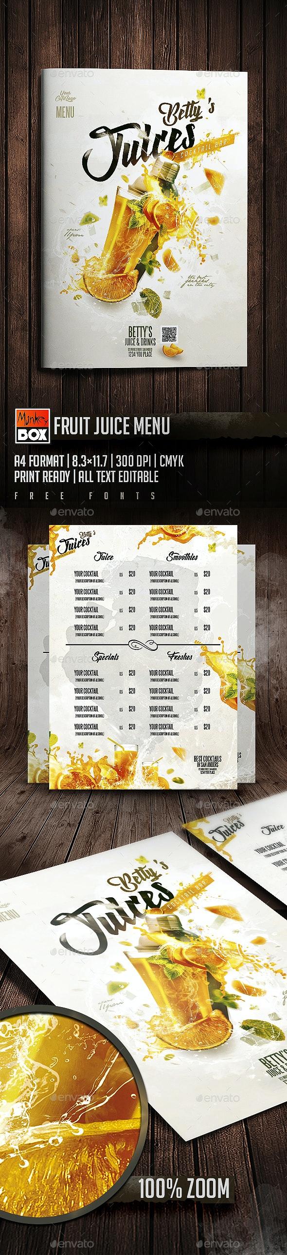 Fruit Juice Menu - Food Menus Print Templates