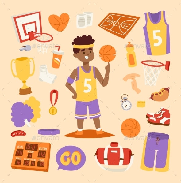 Basketball Stickers Vector Icons Character - Sports/Activity Conceptual
