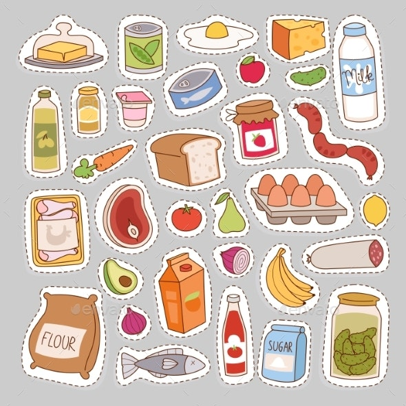 Everyday Food Icons Patchwork Vector. - Food Objects