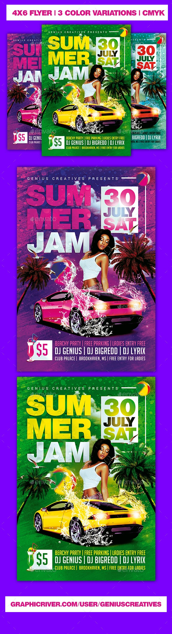 Summer Jam Beach Flyer - Clubs & Parties Events