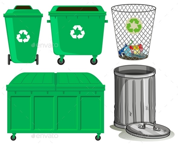 Green Trashcans with Recycle Sign - Man-made Objects Objects