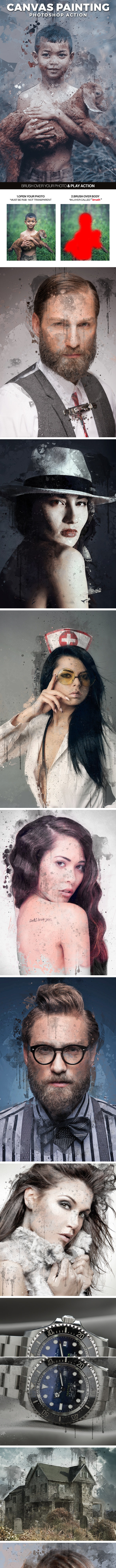 Canvas Painting Photoshop Action - Photo Effects Actions