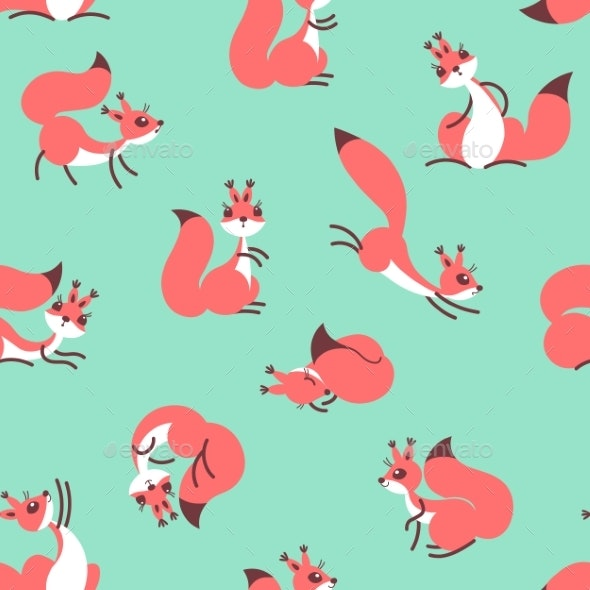 Little Cute Squirrels. Seamless Pattern for Gift - Animals Characters