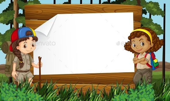 Border Design with Two Girls Camping Out - People Characters