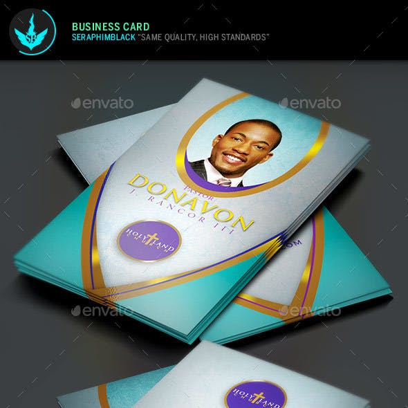 Royal Teal Church Business Card Templat