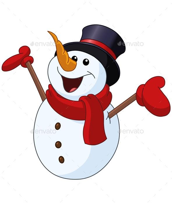 Snowman Raising Arms - Seasons Nature