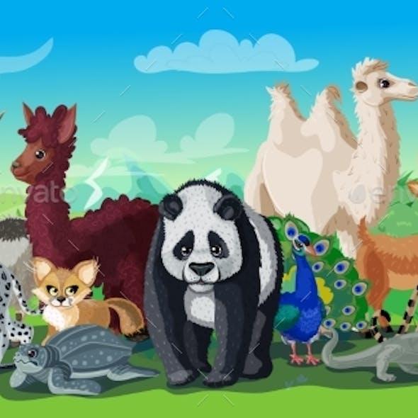 Cartoon Asian Animals Template
