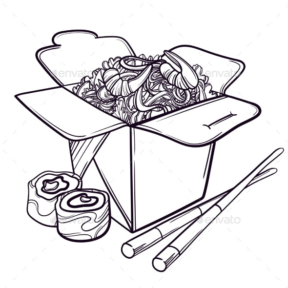 Vector Illustration of an Asian Restaurant Opened - Food Objects