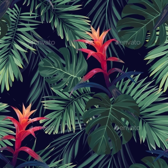 Hand Drawn Seamless Floral Pattern with Guzmania - Miscellaneous Vectors