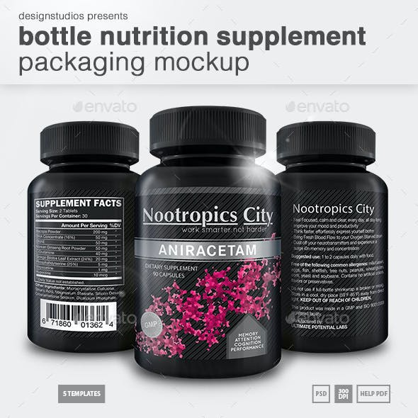 Bottle Nutrition Supplement Packaging Mock-Up