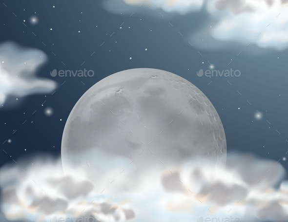 Scene with Fullmoon at Night Time - Landscapes Nature
