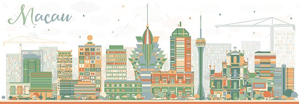 Abstract Macau Skyline with Color Buildings. - Buildings Objects