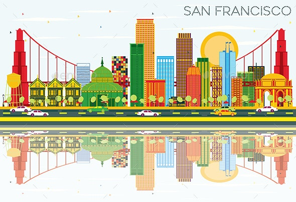San Francisco Skyline with Color Buildings, Blue Sky and Reflections. - Buildings Objects
