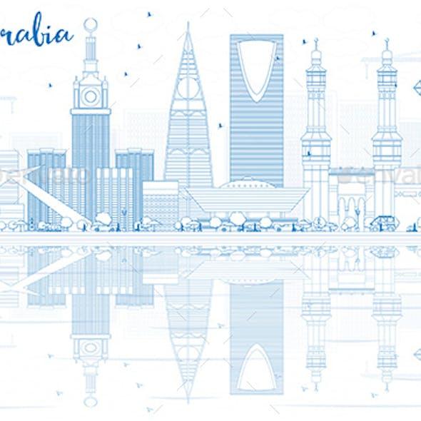 Outline Saudi Arabia Skyline with Blue Landmarks and Reflections.