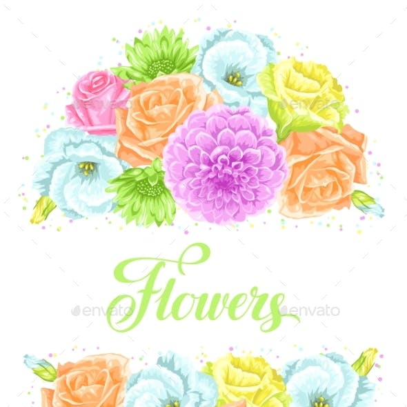 Invitation Card with Decorative Delicate Flowers