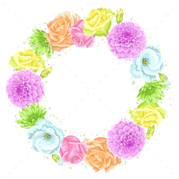 Decorative Frame with Delicate Flowers.