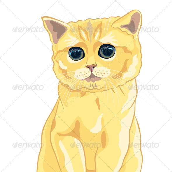 Vector Sketch Cute Lilac British Kitten Sitting