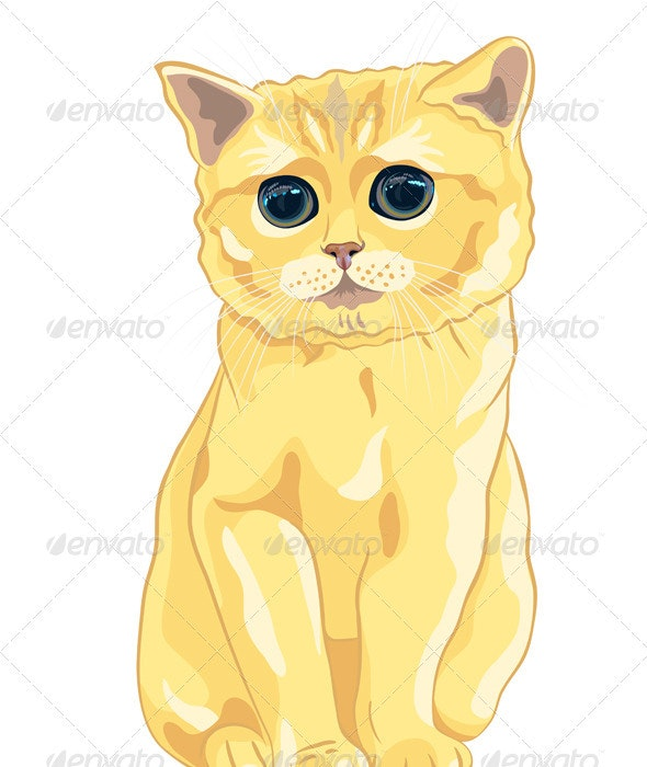 Vector Sketch Cute Lilac British Kitten Sitting - Animals Characters
