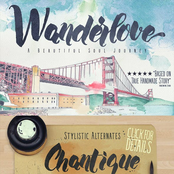Wanderlove brush script font