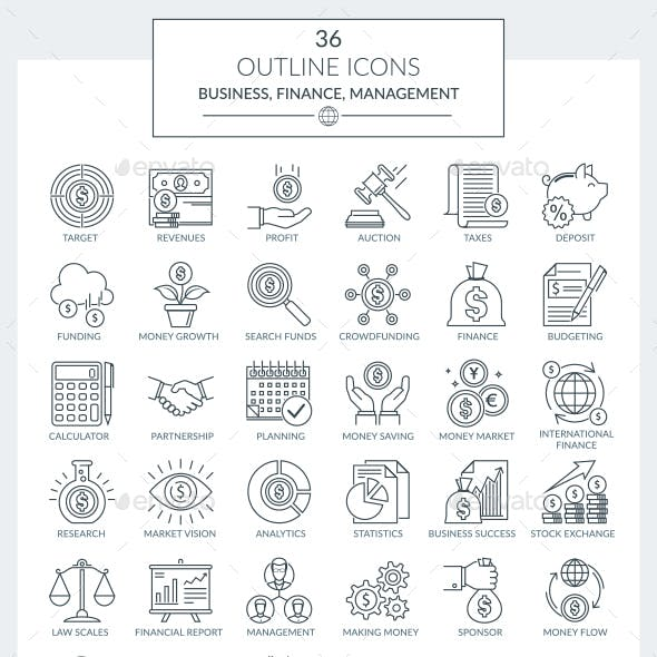 Outline Icons Business and Finance