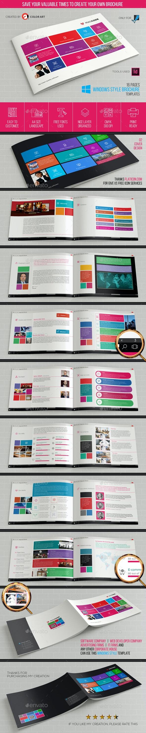 Windows Style Brochure Template V.1 - Brochures Print Templates